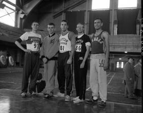 Cross Country team members in Jenison Field House, circa 1950s title=Cross Country team members in Jenison Field House, circa 1950s