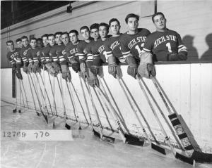 The hockey team lined up, 1951